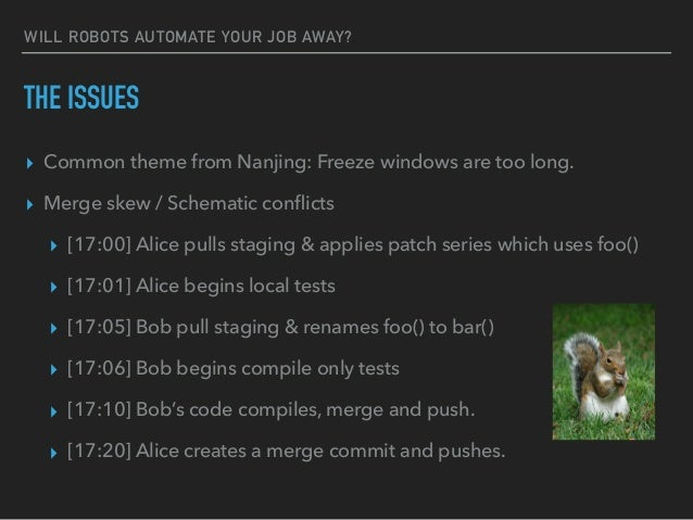 WILL ROBOTS AUTOMATE YOUR JOB AWAY? THE ISSUES ▸ Common theme from Nanjing: Freeze windows are too long. ▸ Merge skew / Sc...