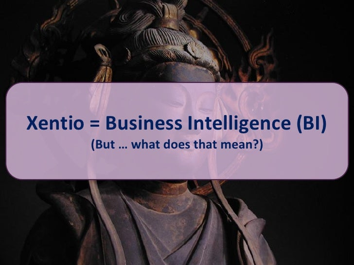 Xentio = Business Intelligence (BI)        (But … what does that mean?)