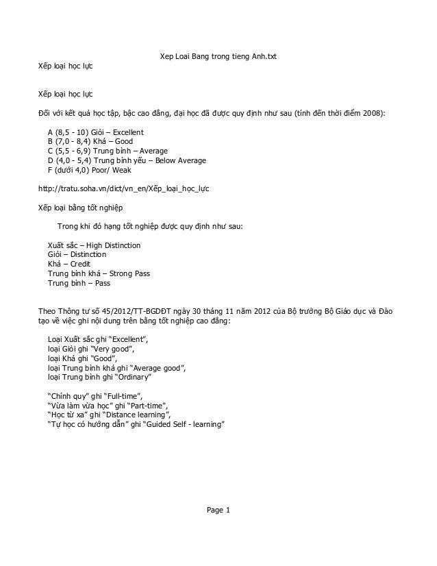 Xep Loai Bang trong tieng Anh.txt Xếp loại học lực  Xếp loại học lực Đối với kết quả học tập, bậc cao đẳng, đại học đã đượ...