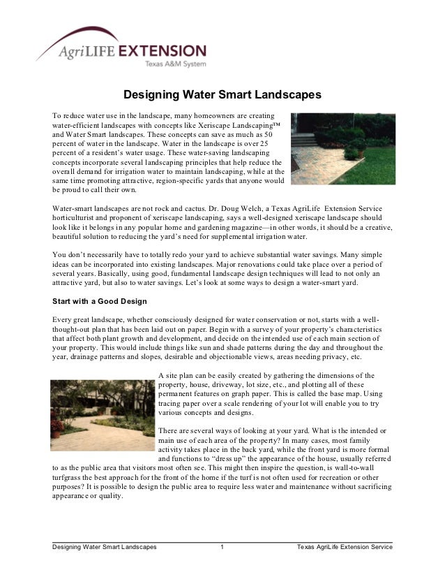 Designing Water Smart LandscapesTo reduce water use in the landscape, many homeowners are creatingwater-efficient landscap...