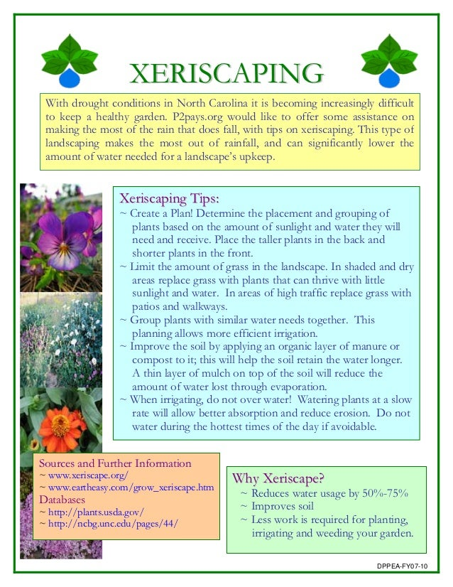 XERISCAPING With drought conditions in North Carolina it is becoming increasingly difficult to keep a healthy garden. P2pa...