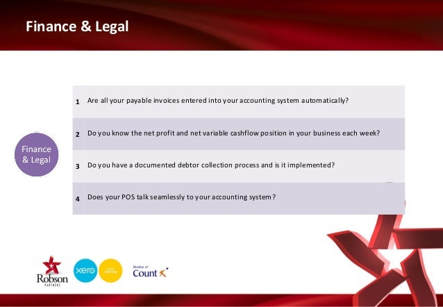 Finance & Legal  1 Are all your payable invoices entered into your accounting system automatically?  2 Do you know the net...