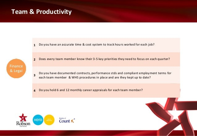 Team & Productivity  1 Do you have an accurate time & cost system to track hours worked for each job?  2 Does every team m...