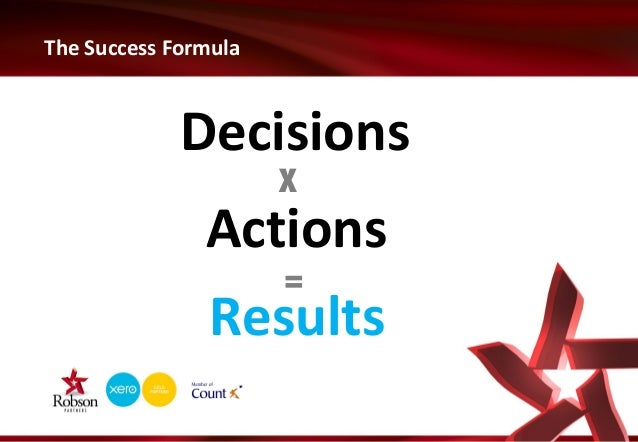 The Success Formula  Decisions X  Actions = Results