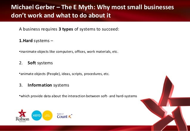 Michael Gerber – The E Myth: Why most small businesses don't work and what to do about it A business requires 3 types of s...