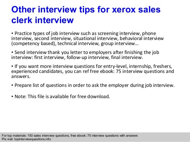 Xerox sales clerk interview questions and answers