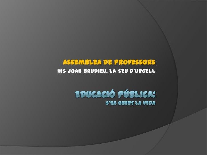 Assemblea de ProfessorsINS Joan Brudieu, La Seu d'Urgell