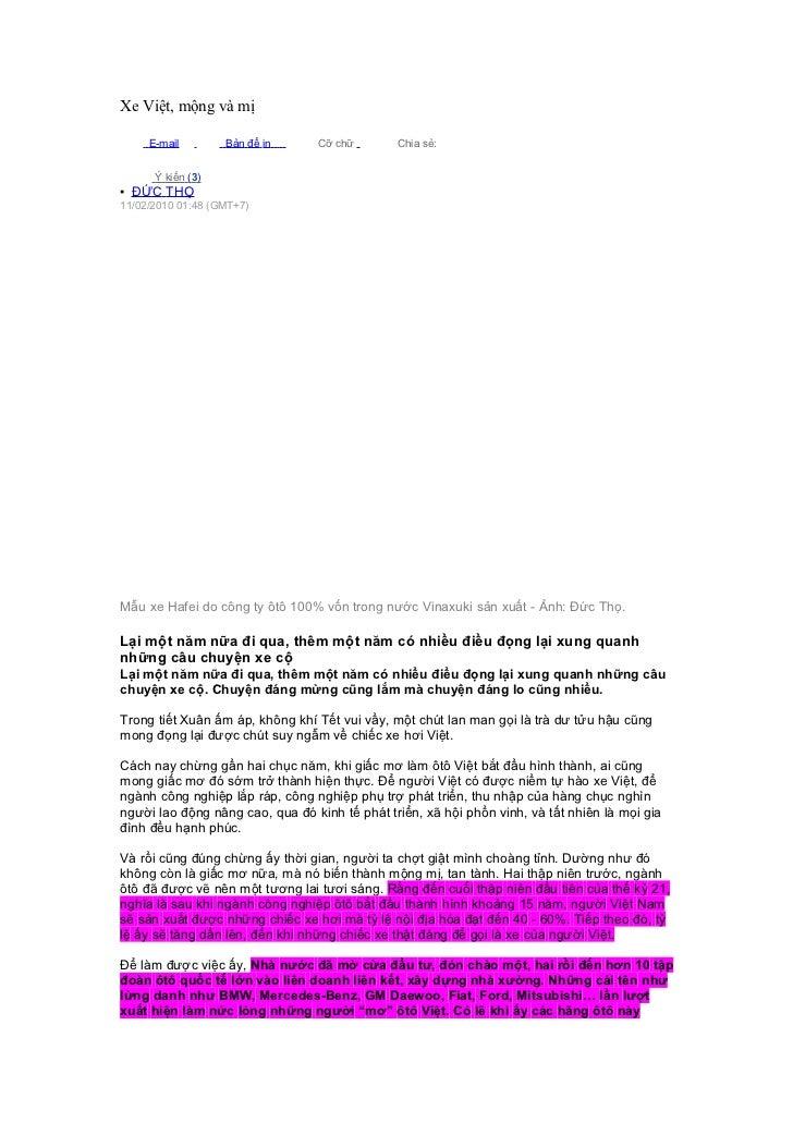 Xe Việt, mộng và mị     E-mail        Bản để in     Cỡ chữ        Chia sẻ:      Ý kiến (3)▪ ĐỨC THỌ11/02/2010 01:48 (GMT+7...