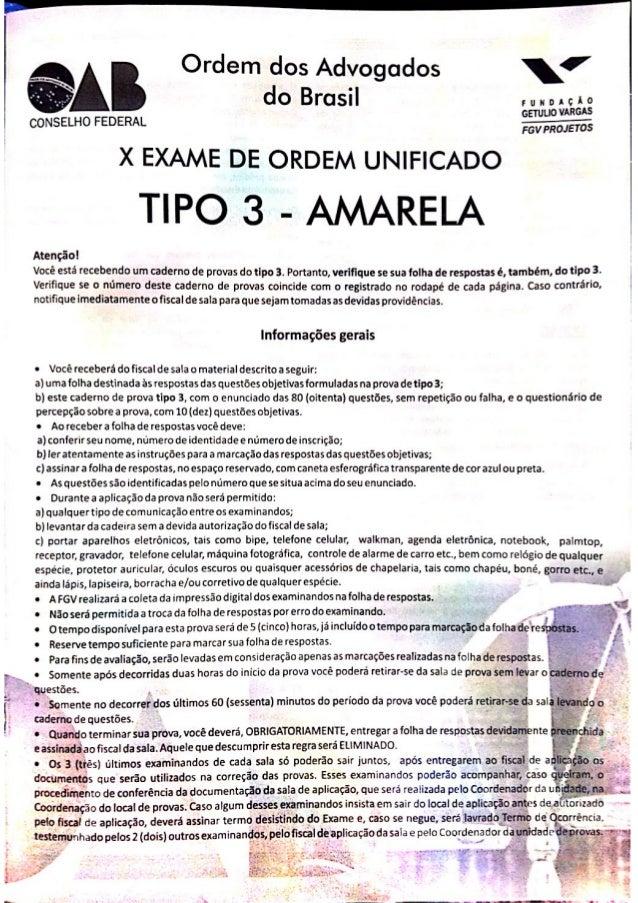 Prova da 1ª fase do X Exame de Ordem Unificado OAB