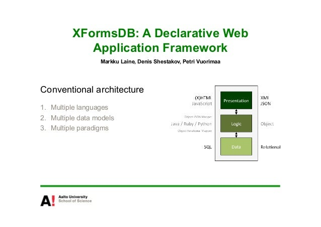 XFormsDB: A Declarative Web             Application Framework                   Markku Laine, Denis Shestakov, Petri Vuori...