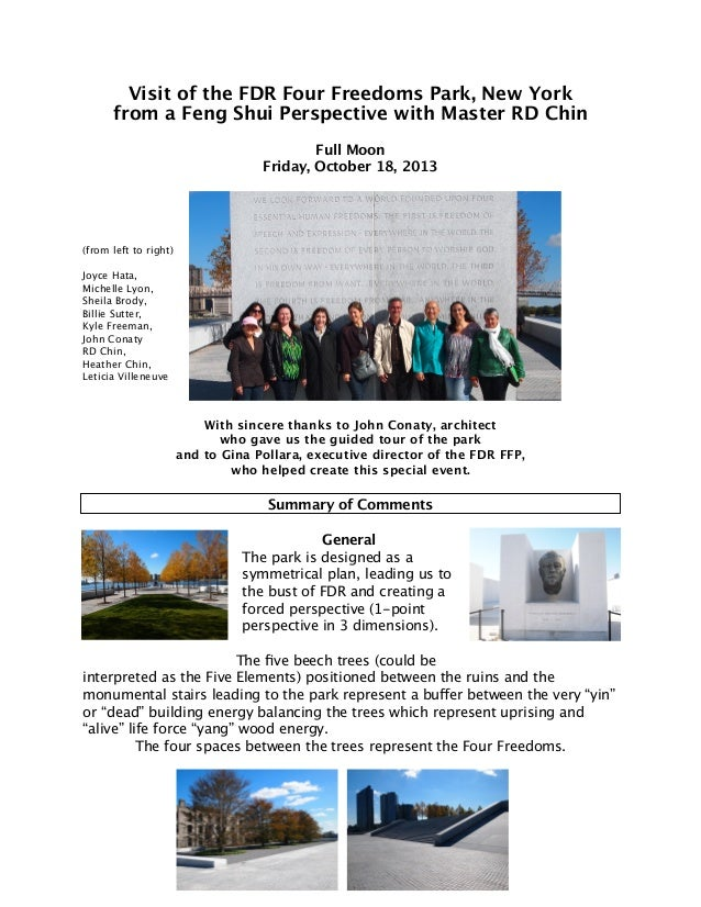 A Feng Shui tour of the FDR Four Freedoms Park in NYC with master RD …