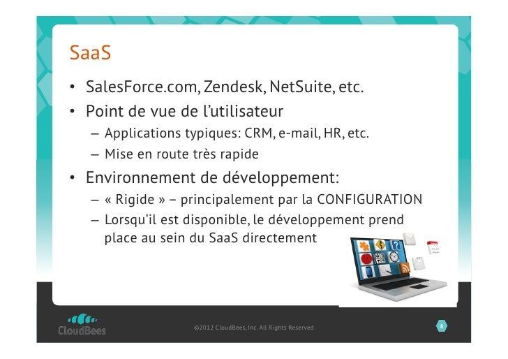 SaaS• SalesForce.com, Zendesk, NetSuite, etc.• Point de vue de l'utilisateur   – Applications typiques: CRM, e-mail, HR...