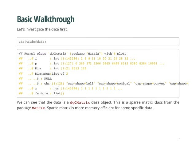 Basic Walkthrough Let's investigate the data first. We can see that the data is a dgCMatrixclass object. This is a sparse ...