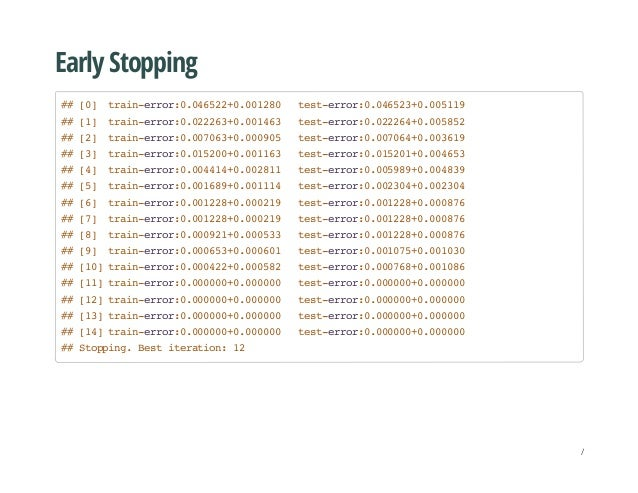 Early Stopping ##[0] train-error:0.046522+0.001280 test-error:0.046523+0.005119 ##[1] train-error:0.022263+0.001463 test-e...