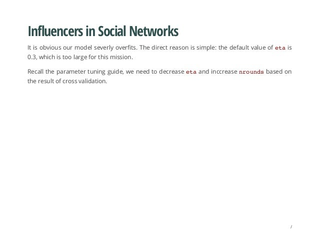Influencers in Social Networks It is obvious our model severly overfits. The direct reason is simple: the default value of...