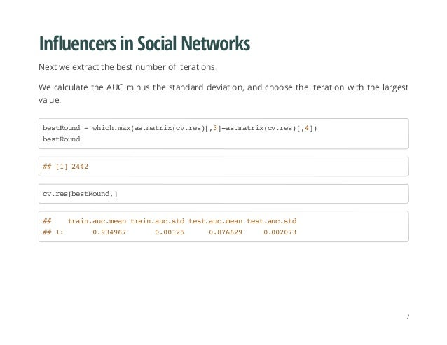 Influencers in Social Networks Next we extract the best number of iterations. We calculate the AUC minus the standard devi...