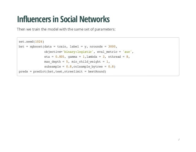 Influencers in Social Networks Then we train the model with the same set of parameters: set.seed(1024) bst=xgboost(data=tr...