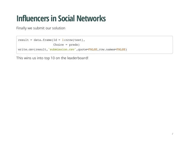 Influencers in Social Networks Finally we submit our solution This wins us into top 10 on the leaderboard! result=data.fra...