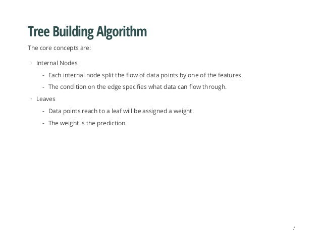 Tree Building Algorithm The core concepts are: Internal Nodes Leaves · Each internal node split the flow of data points by...