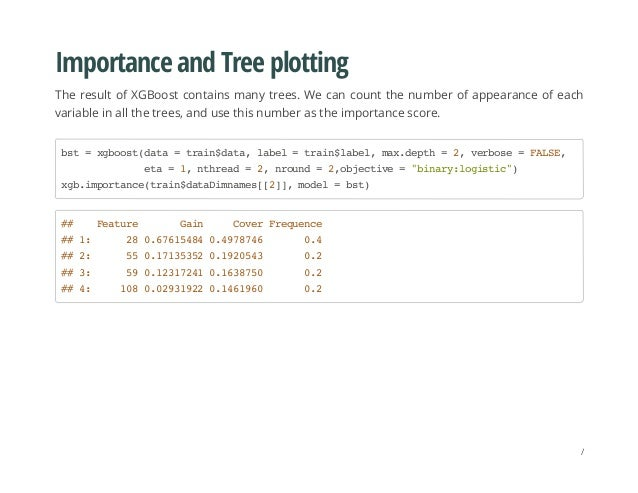 Importance and Tree plotting The result of XGBoost contains many trees. We can count the number of appearance of each vari...
