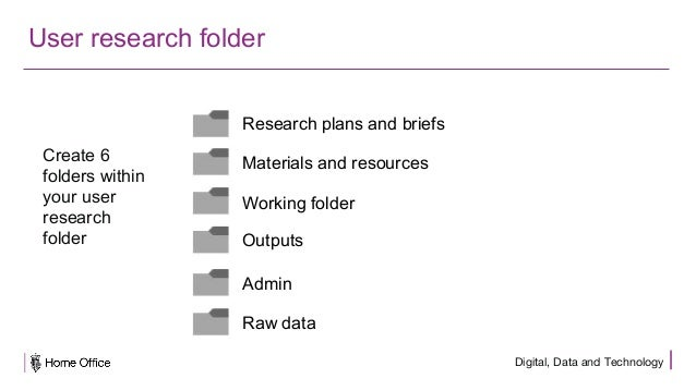 Digital, Data and Technology User research folder Create 6 folders within your user research folder Research plans and bri...