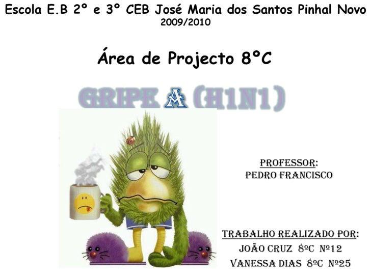 Escola E.B 2º e 3º CEB José Maria dos Santos Pinhal Novo<br />2009/2010<br />Área de Projecto 8ºC   <br />Gripe A (H1N1)<b...