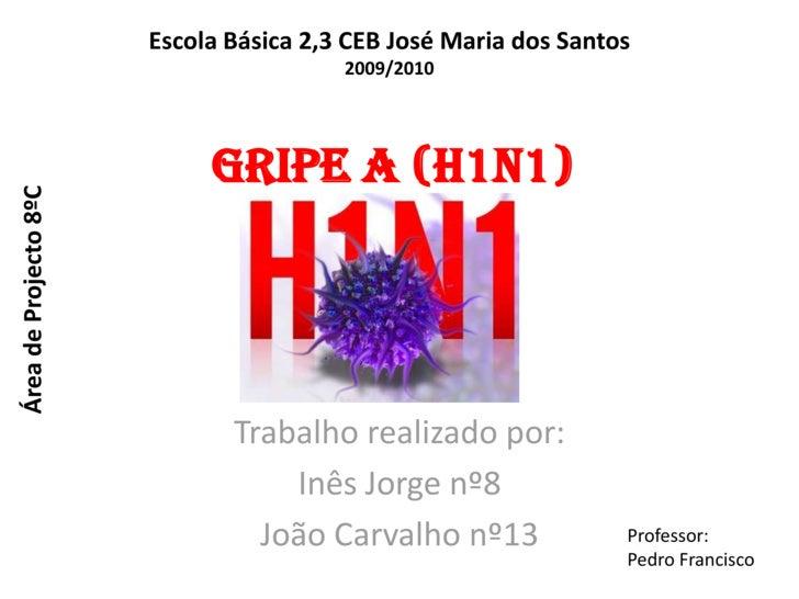 Escola Básica 2,3 CEB José Maria dos Santos<br />2009/2010<br />Gripe A (H1N1)<br />Área de Projecto 8ºC<br />Trabalho rea...