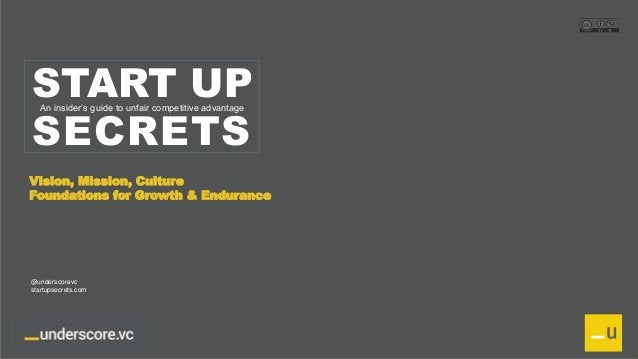 Proprietary and Confidential START UP SECRETS An insider's guide to unfair competitive advantage Vision, Mission, Culture ...