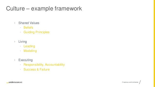 Proprietary and Confidential Culture – example framework  Shared Values • Beliefs • Guiding Principles  Living • Leading...