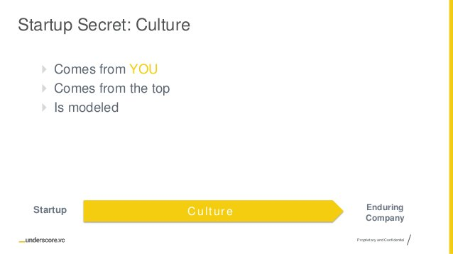 Proprietary and Confidential Startup Secret: Culture  Comes from YOU  Comes from the top  Is modeled CultureStartup End...