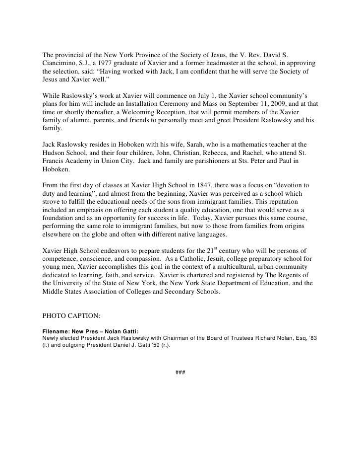 xavier hs announces new president jack raslowsky