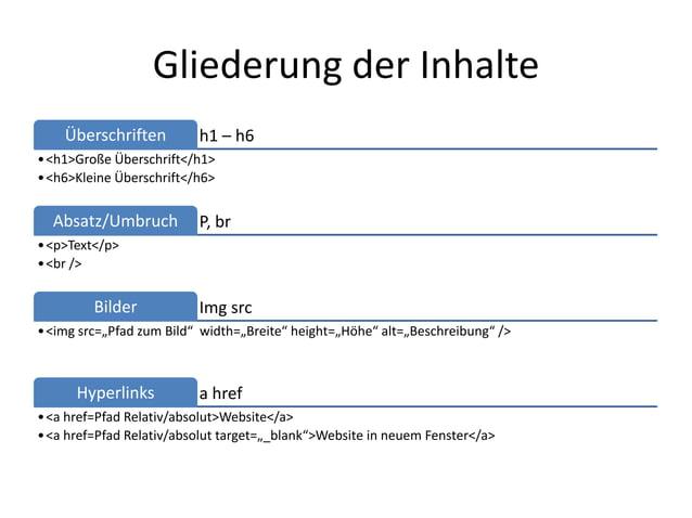 Gliederung der Inhalte    Überschriften         h1 – h6• <h1>Große Überschrift</h1>• <h6>Kleine Überschrift</h6>  Absatz/U...