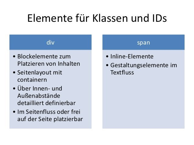 Elemente für Klassen und IDs            div                         span• Blockelemente zum           • Inline-Elemente  P...