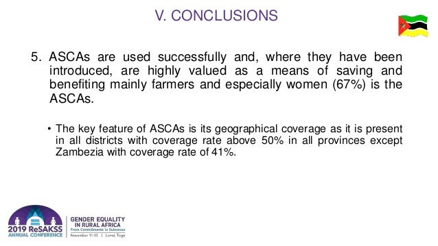 5. ASCAs are used successfully and, where they have been introduced, are highly valued as a means of saving and benefiting...
