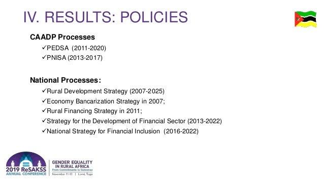IV. RESULTS: POLICIES CAADP Processes PEDSA (2011-2020) PNISA (2013-2017) National Processes: Rural Development Strateg...