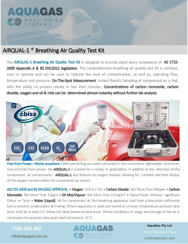 the airqual1 breathing air quality test kit is designed to provide stand alone compliance