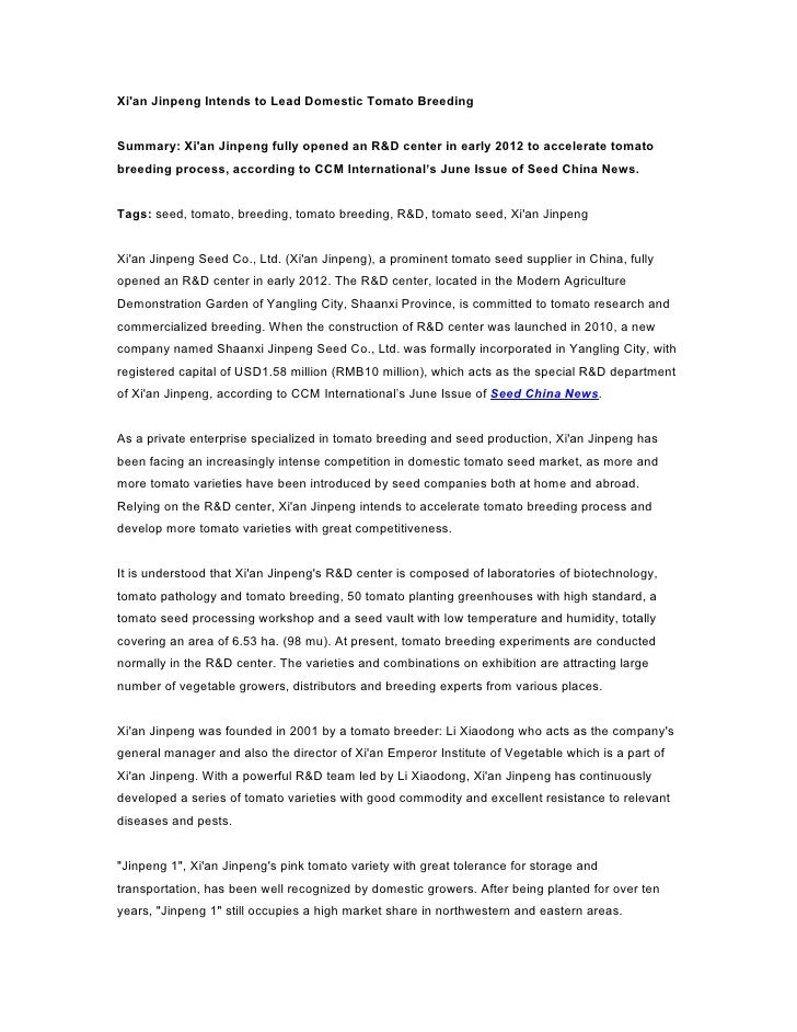 Xian Jinpeng Intends to Lead Domestic Tomato BreedingSummary: Xian Jinpeng fully opened an R&D center in early 2012 to acc...