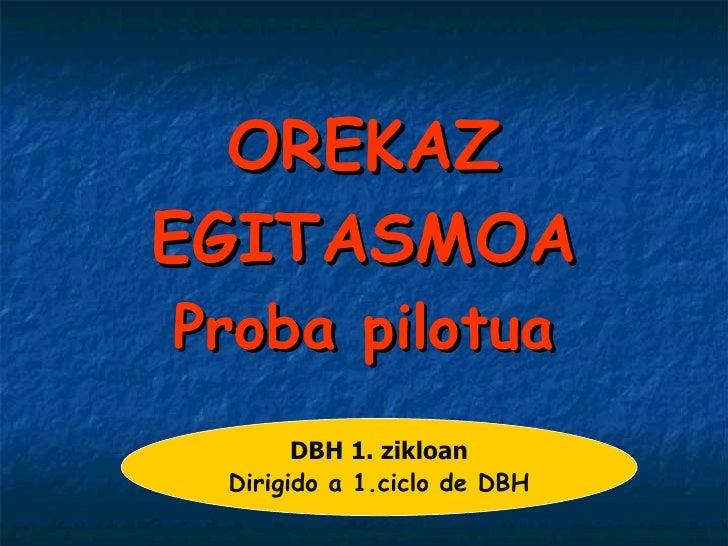 OREKAZ EGITASMOA Proba pilotua DBH 1. zikloan Dirigido a 1.ciclo de DBH