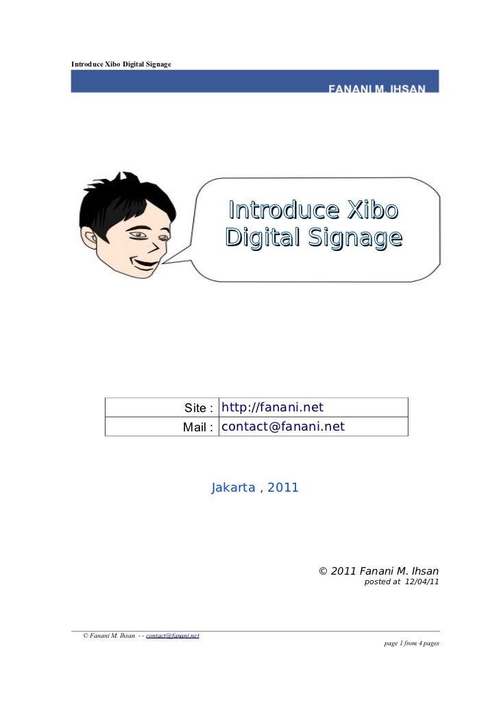 Introduce Xibo Digital Signage                                               Introduce Xibo                               ...