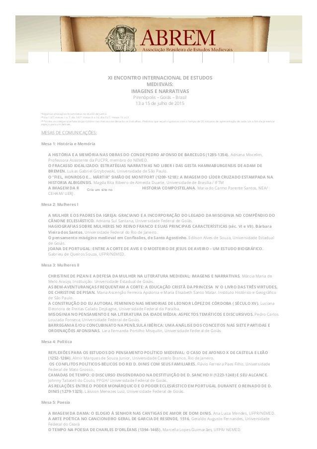 10/07/2015 XIENCONTROINTERNACIONALDEESTUDOSMEDIEVAIS(XIEIEM)|Mesas http://xieiem.wix.com/xieim#!mesas/cu4m 1/4...