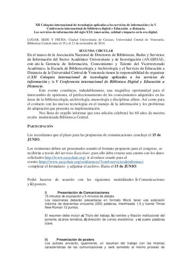 XII Coloquio internacional de tecnologías aplicadas a los servicios de información y la V Conferencia internacional de bib...