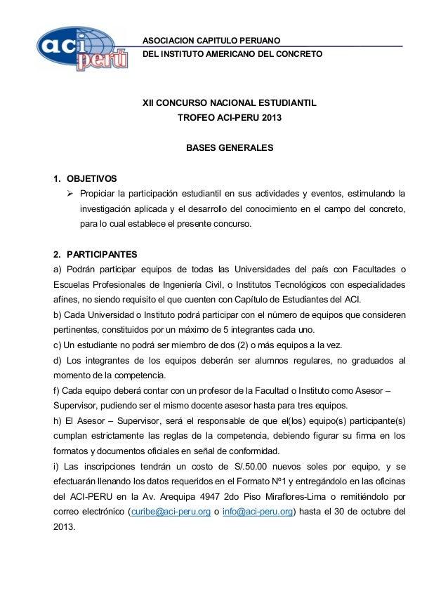 ASOCIACION CAPITULO PERUANO DEL INSTITUTO AMERICANO DEL CONCRETO XII CONCURSO NACIONAL ESTUDIANTIL TROFEO ACI-PERU 2013 BA...