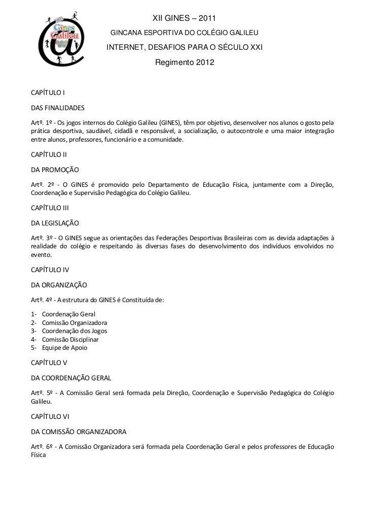 341966-123861XII GINES – 2011<br />GINCANA ESPORTIVA DO COLÉGIO GALILEU<br />INTERNET, DESAFIOS PARA O SÉCULO XXI<br />Reg...