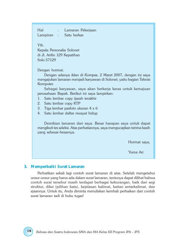 Contoh Surat Lamaran Kerja Tugas Bahasa Indonesia Kelas 12 Contoh Seputar Surat