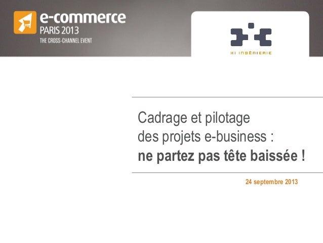 Cadrage et pilotage des projets e-business : ne partez pas tête baissée ! 24 septembre 2013