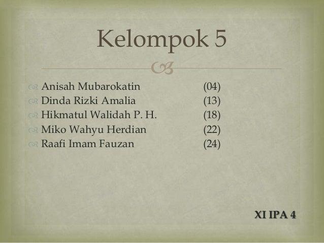 Kelompok 5                 Anisah Mubarokatin       (04) Dinda Rizki Amalia       (13) Hikmatul Walidah P. H.   (18) ...