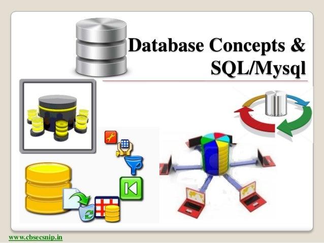 Database Concepts &                            SQL/Mysqlwww.cbsecsnip.in