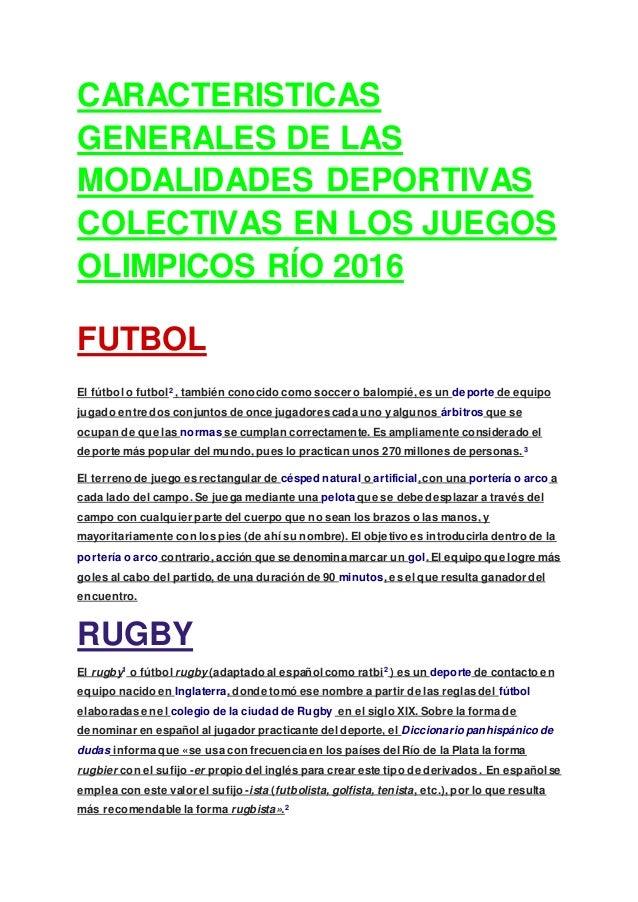 Amado Caracteristicas generales de las modalidades deportivas SN45
