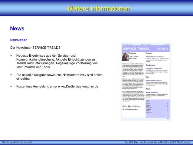 """X [iks] Umfrage """"Service Automatisierung"""" Weitere Informationen News Newsletter Der Newsletter SERVICE TRENDS  Neueste Er..."""