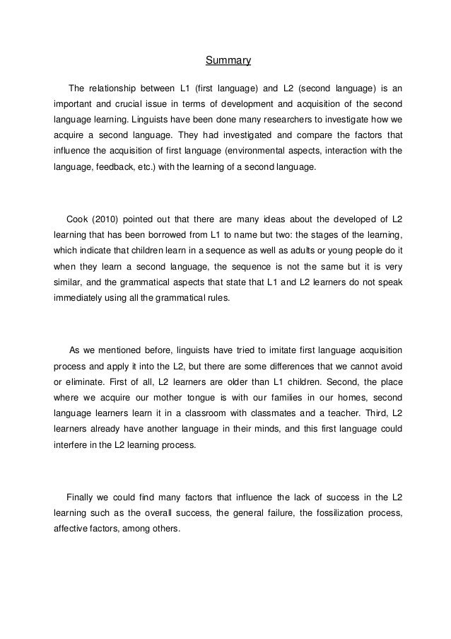 reaction paper the relationship between first and second language l  2
